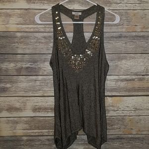 Cache Embellished Tank Blouse S Brown Gold Cute